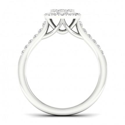Bague fantaisie diamant baguette sertie micro pavé