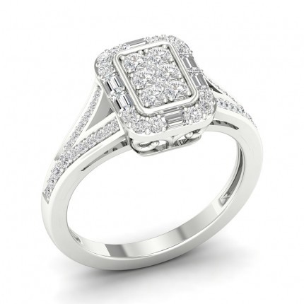 Anello Alla Moda Con Diamante Rotondo Con Incastonatura A Pavé