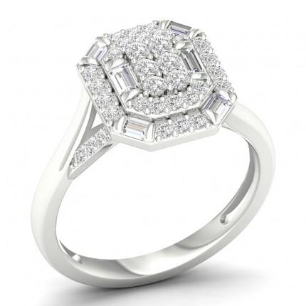 Anillo De Moda Con Diamantes Redondos Engastados Con Micro Clavijas