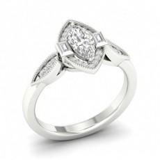 Bague halo de diamants marquise sertie micro pavé