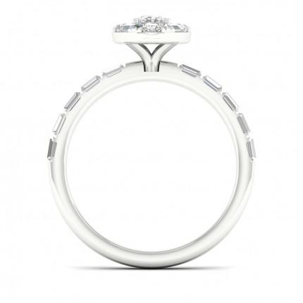 Anello Con Micro Pavé Di Diamanti Halo Ovali