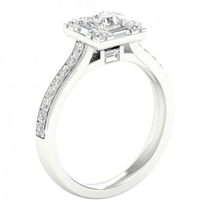 Micro PavéIndfatning Rund Diamant Halo Ring