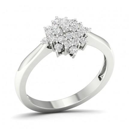 Bague en grappe de diamants ronds sertis micro griffes