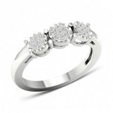 Anello Con Diamanti Rotondi A Grappolo Con Montatura A Micro Griffe