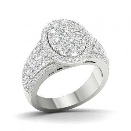 Bague fantaisie diamant rond à griffes