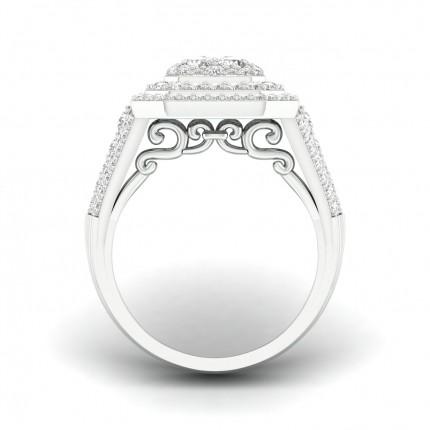 Anello Alla Moda Con Diamante Rotondo Con Incastonatura A Micro Griffe