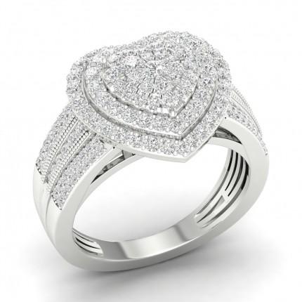 Anello Con Micro Pavé Di Diamanti Firmati Rotondi