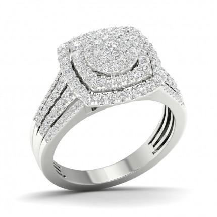 Bague fantaisie diamant rond serti micro-pavé