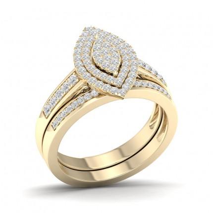 Micro PavéIndfatning Rund Klynge Diamant Sidestensring Med Matchende Ring