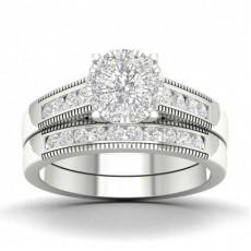 Rund Diamant Klynge Sidestensring Med Matchende Ring Med Kanalfatning