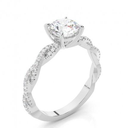 Bague de fiançailles diamant pierre latérale serti 4 griffes