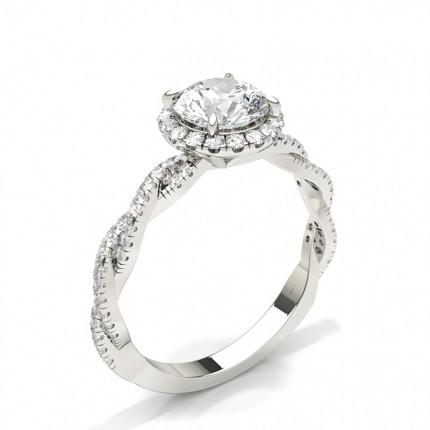Bague de fiançailles halo diamant serti 4 griffes