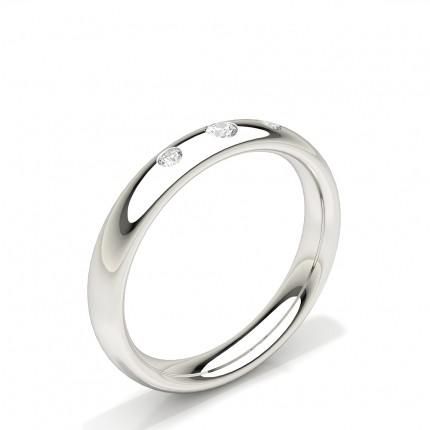 Drei Stein Diamant besetzte Frauen Ehering