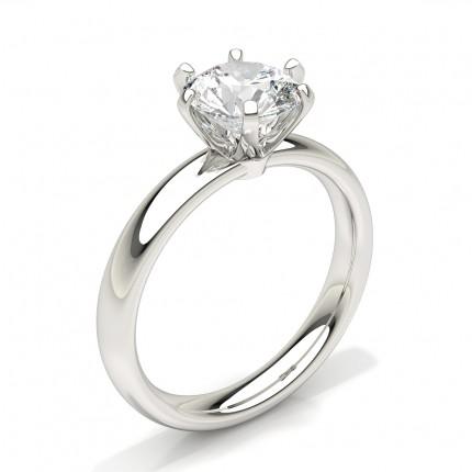 Anillo De Compromiso Con Solitario De Diamantes Redondos