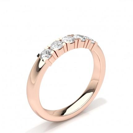 Bague de mariage pour femme diamant rond serti de cinq pierres