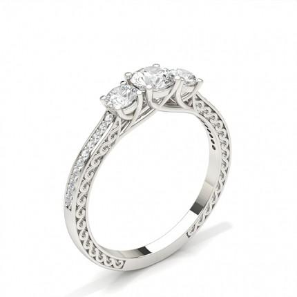 4 Prong Setting Trilogy Diamond Engagement Ring