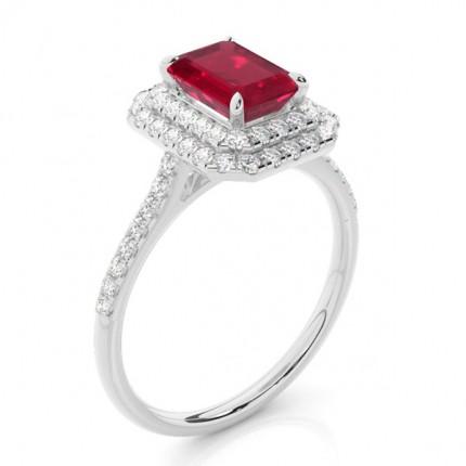 Prong Setting Ruby Halo Ring