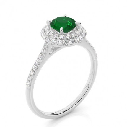 Zinkeneinstellung runder Smaragdhalo-Ring