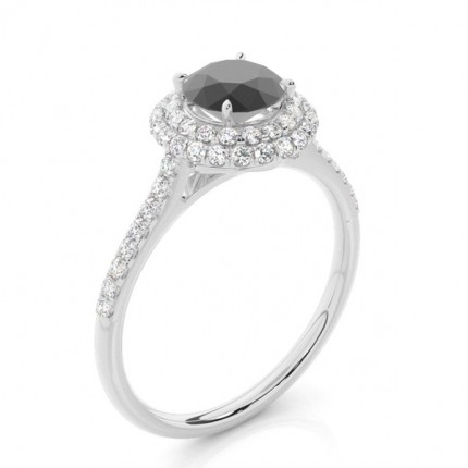 Prong Setting Round Black Diamond Halo Ring