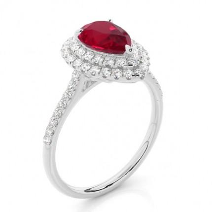 Zinkeneinstellung Birnen-Rubin-Halo-Ring