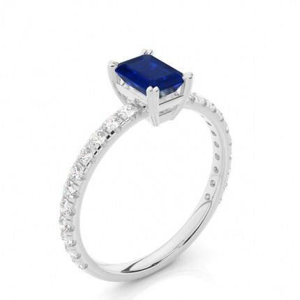 Smaragdblauer Saphir-Verlobungsring mit Zinkeneinstellung
