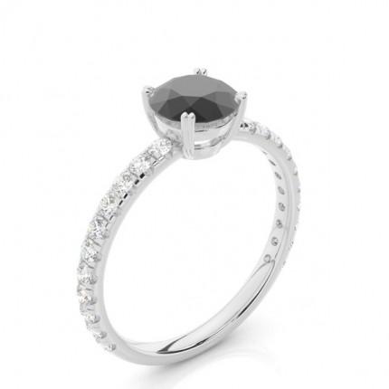 Prong Setting Round Black Diamond Engagement Ring