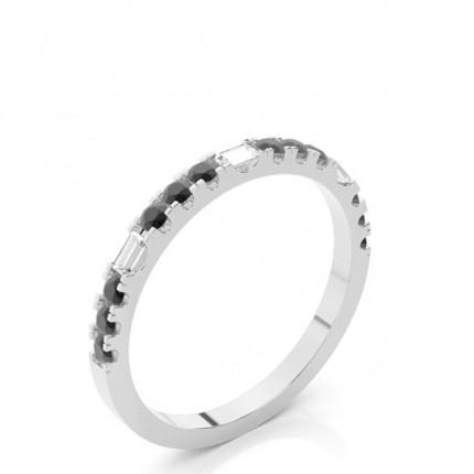 Prong Setting Round Black Diamond Half Eternity Ring