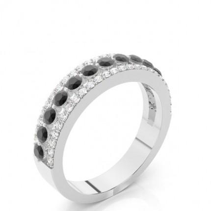 Prong Setting Round Black Diamond Halv Eternity Ring