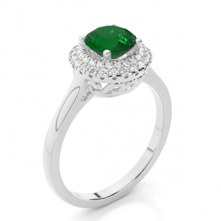 Zinkeneinstellung runder Smaragdhalo-Verlobungsring