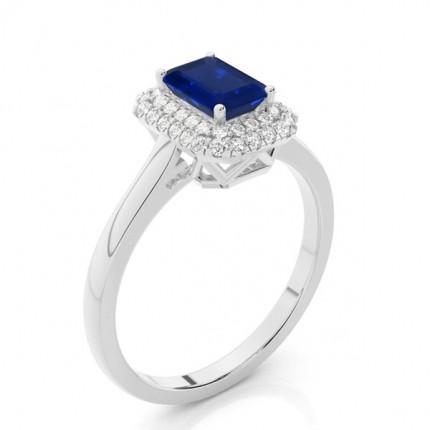 Prong Setting Smaragdblauer Saphir Halo Verlobungsring