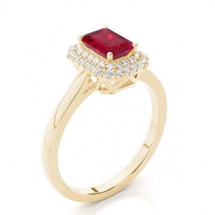 Prong Setting Emerald Ruby Halo Engagement Ring