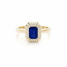 Yellow Gold Sapphire Diamond Engagement Rings