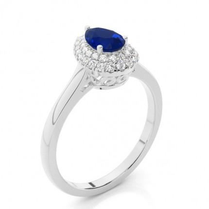 Anillo De Compromiso Con Halo De Zafiro Azul En Forma De Pera Engastado Con Clavijas