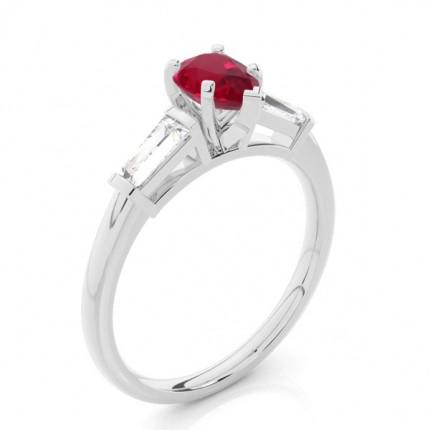 Prong Setting Pear Ruby Three Stone Ring