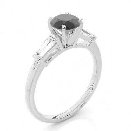 Prong Setting Round Black Diamond Tre Stone Ring