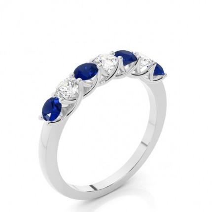 Zinkeneinstellung Runder blauer Saphir-Ring der halben Ewigkeit