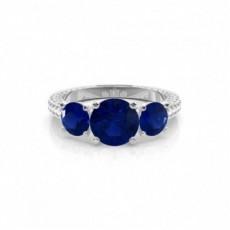 Round Sapphire Diamond Engagement Rings
