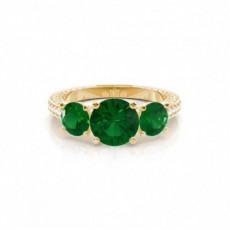 Zinkeneinstellung runder Smaragd-Weinlese-Ring