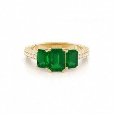 Yellow Gold Emerald Engagement Rings