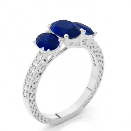 Prong Setting Oval Blue Sapphire Vintage Ring