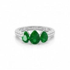Pear Diamond Rings Three Stone