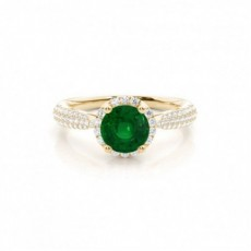Round Emerald Engagement Rings