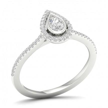 Micro Pave Setting Halo Diamond Engagement Ring