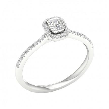 Anello Di Fidanzamento Con Diamante Halo Con Castone