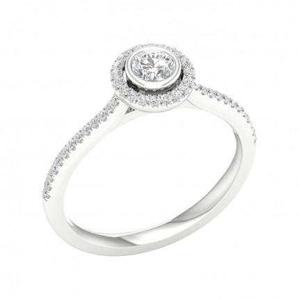 Micro PavéIndfatning Halo Diamant Forlovelsesring