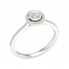 Bague de fiançailles halo de diamants sertis micro pavé