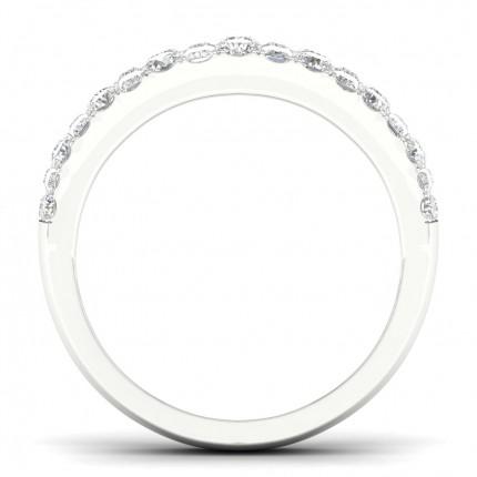 Micro Pave Setting Round Diamond Half Eternity Ring