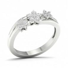 Mikro Klo Innfatning Rund Diamant Mote Ring