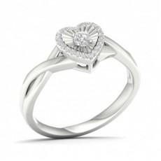 Klo Innfatning Rund Diamant Klynge Ring