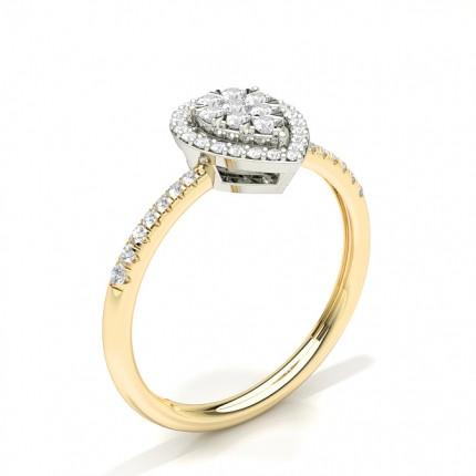 Anello Con Diamanti Rotondi A Grappolo Con Montatura A Griffe Invisibili